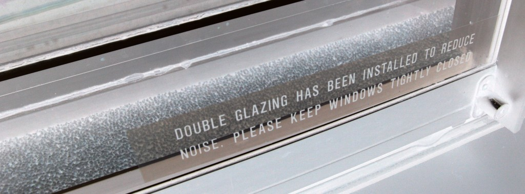 """Double glazing has been installed to reduce noise. Please keep window tightly closed."""